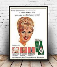 Lustre Creme : Reproduction Debbie Reynolds Shampoo advert, poster, Wall art.