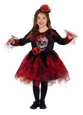 Niña Disfraz Halloween Calavera Disfraz & Sombrero Rojo Negro New Age 4-6-8