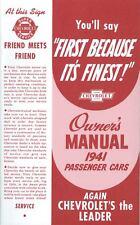 1941 CHEVROLET PASSENGER CAR OWNERS MANUAL