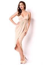 Luftiges Sommerkleid in beige lang rückenfrei Abendkleid in Größes S bis XL