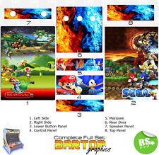 Sega/Nintendo Full/Half Sets Arcade Stickers Graphics / Laminated All Sizes