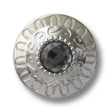 4 große Mantelknöpfe Glitzerknöpfe in silber-grau-metallic in 32mm Durchmesser