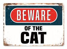 WTF | BEWARE of the CAT  | Metal Wall Sign Plaque Art Funny Door Bedroom warning