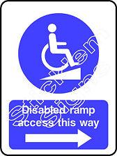 Rampa disabili l'accesso in questo modo-FRECCIA DESTRA dda0009 disabilitato adesivi e insegne