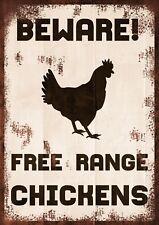 Beware Free Range Chickens Warning Retro Vintage Metal Sign, drive, gate, farm