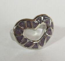 Stainless Steel Heart Ring Purple Enamel Statement Jewelry Cutout Size 6 7 9 10