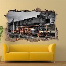 Tren de vapor Retro Vintage 3D Pegatinas De Pared Decoración Tienda De Oficina Sala de Arte de Mural TO7