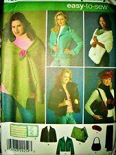 Simplicity 4355 Pattern Jacket Stole Bag Scarf Hat UNCUT Sz XS-S-M OR M-L-XL