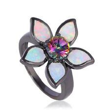 Black Gold Plated Fire Opal Flower ring, USA Seller.