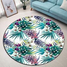 Tropical Palm Flowers Room Home Floor Non-slip Round Bath Mat Rug Yoga Carpet