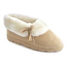 Femme Beige Micro Daim à Doublure en fourrure Bottines Pantoufles Disponible en Tailles UK 3-8