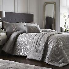 Luxury Jacquard Geometric Duvet Quilt Cover Bedding Bed Linen Set Lucien Silver