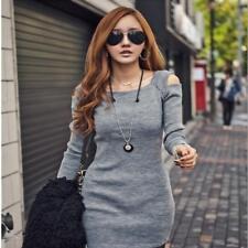 Women's Casual Knitted Dress Long Sleeve Sweaters Dress Party Mini Dress L