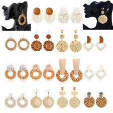 Bohemian Pendent Drop Earring Rattan Vine Knit  Handmade Bamboo Braid Earrings