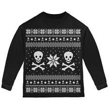 Skull /& Crossbones Ugly Christmas Sweater Black Toddler Hoodie