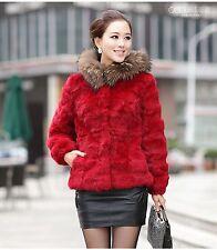 100% Fur Rex Rabbit Raccoon Trim Hood Women Coat Jacket Overcoat  Garment