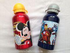 Kids Aluminium Water Bottle 500ml School Drinking Mickey Marvel Avengers
