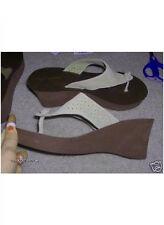 NWT AEROPOSTALE Light Leather Wedge Sandal Khaki