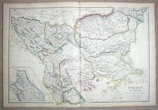 CROATIA, BOSNIA,GREECE,TURKEY,BULGARIA antique map 1860