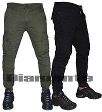 Pantalone uomo Cargo Jeans tasconi multitasche nero verde slim nuovo 8001