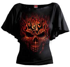 SPIRAL DIRECT SKULL BLAST BOAT NECK SLEEVE/Skull/Goth/Fire Skull/Rock/Metal/Top