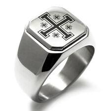 Stainless Steel Jerusalem Cross Symbol Flat Top Biker Style Polished Ring