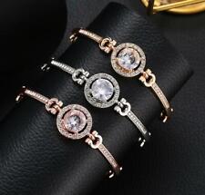 Adjustable Silver Rose Gold Crystal Diamante Bangle Wedding Bridesmaid Bracelet