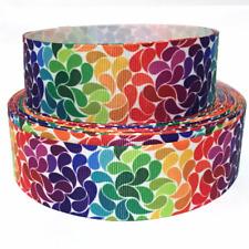 "GROSGRAIN RIBBON 7/8"" & 1.5"" Rainbows Flowers Rainbow Fl8 Printed"
