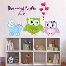 WALL TATTOO Owl Family Owl Heart Pram Baby family Love Wall sticker