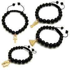 Pharaoh, Ankh,Nefertiti, Pyramid Charm Adjustable 10mm Black Stone Bead Bracelet