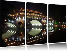 hellerleuchtete chinesische Brücke 3-Teiler Leinwandbild Wanddeko Kunstdruck