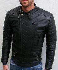 Para Hombre de Colección Chaqueta De Cuero Genuino Negro Motociclista Elegante Calce Entallado
