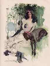 Beautiful Lady Of The Lake-Dog-1910 ANTIQUE VINTAGE-PRINT-Scotland-Fair Maiden