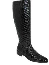 Lamica Women's Iara Italian Knee High Boots Croco, Black and Brown
