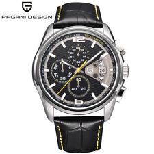 PAGANI DESIGN Date Genuine Leather Band Men Business Quartz Wrist Watch Gift Box