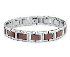 Men's Stainless Steel Brown / Gold Two Tone Link Biker Bracelet