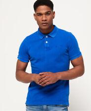 Nueva camisa para hombre Vintage Camisa Polo Piqué destruidas híper cobalto