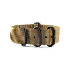 5-Ring Khaki Brown Nylon Military ZULU Watch Strap (Black 20mm, 22mm)