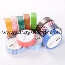 1 Masking Tape 10m x 15mm pois couleur au choix scrapbooking ruban adhésif Diy