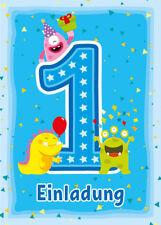 Einladungskarten Einladungen 1. Kindergeburtstag erste Geburtstag MONSTER