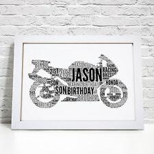Personalised Word Art Sports Motorbike Bike Picture Wall Print Gift Present