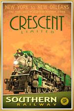 Southern Railway CRESCENT LIMITED New Retro Railroad Train Poster Art Print 129