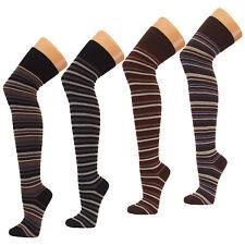 Overknees geringelt 50Den M L XL weiß schwarz Damen Strumpf Stockings Fibrotex
