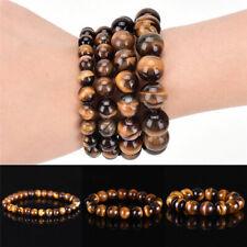 Fashion Men Woman Natural Tiger Eye Stone Lucky Bless Beads Bracelets 8/10/12MM