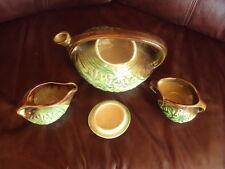Vintage McCoy tea set green and brown daisy design