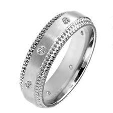 Diamond 0.12 CT Wedding Anniversary Bridal Brushed Titanium Band Step Edge Ring