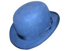 laine fait à la main qualité rond haut dur Chapeau melon en bleu avec satin