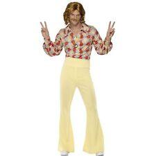 70s 60s Groovy Guy Disco High Waist Flares Adults Mens Fancy Dress Costume