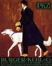 POSTER WINTER FASHION MAN WITH DOG PKZ BURGER KEHL ZURICH VINTAGE REPRO FREE S/H