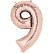 oro rosa número 9 Gigante Globo Helio Metalizado Nueve 9 Fiesta Cumpleaños